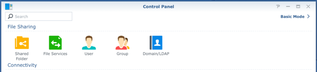 control panel, user and group, dsm6