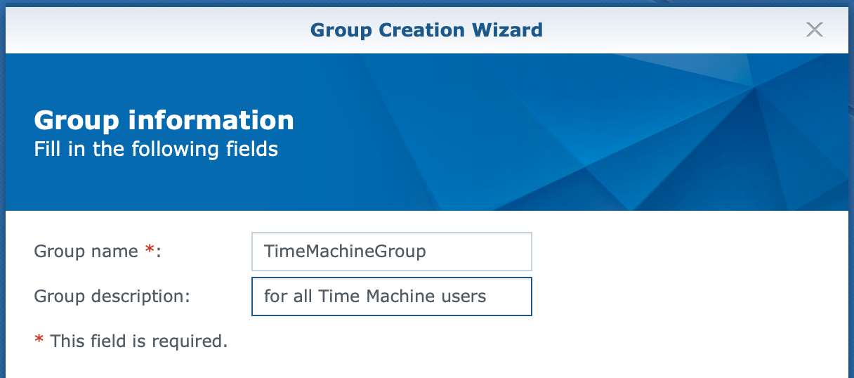 synology, group create wizard, group information, dsm6
