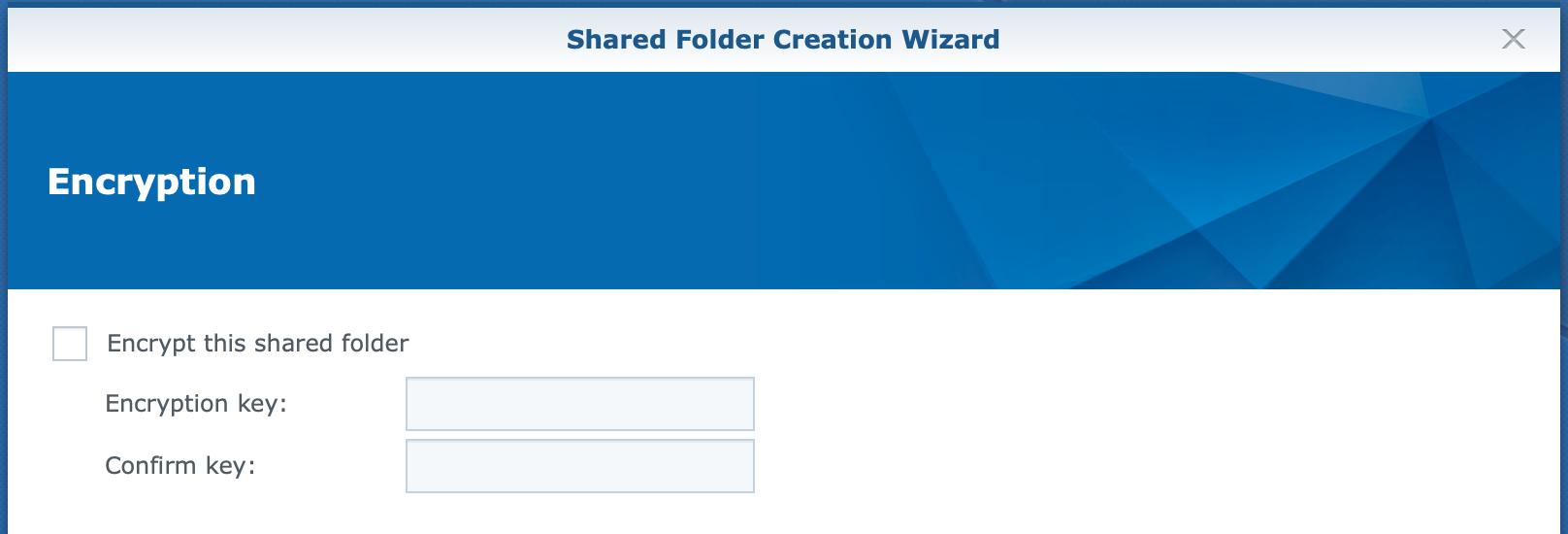 synology, shared folder, create wizard, encryption, dsm6