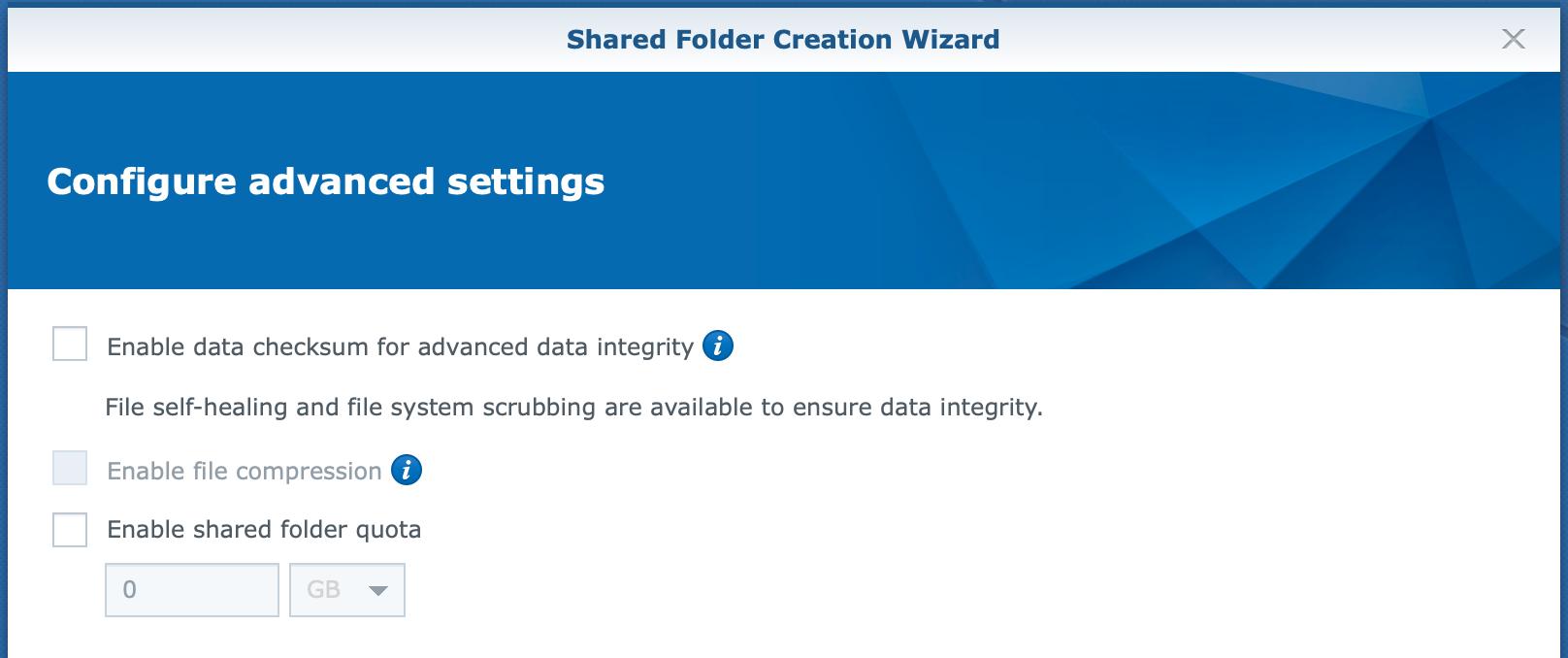 synology, shared folder, create wizard, advanced settings, dsm6