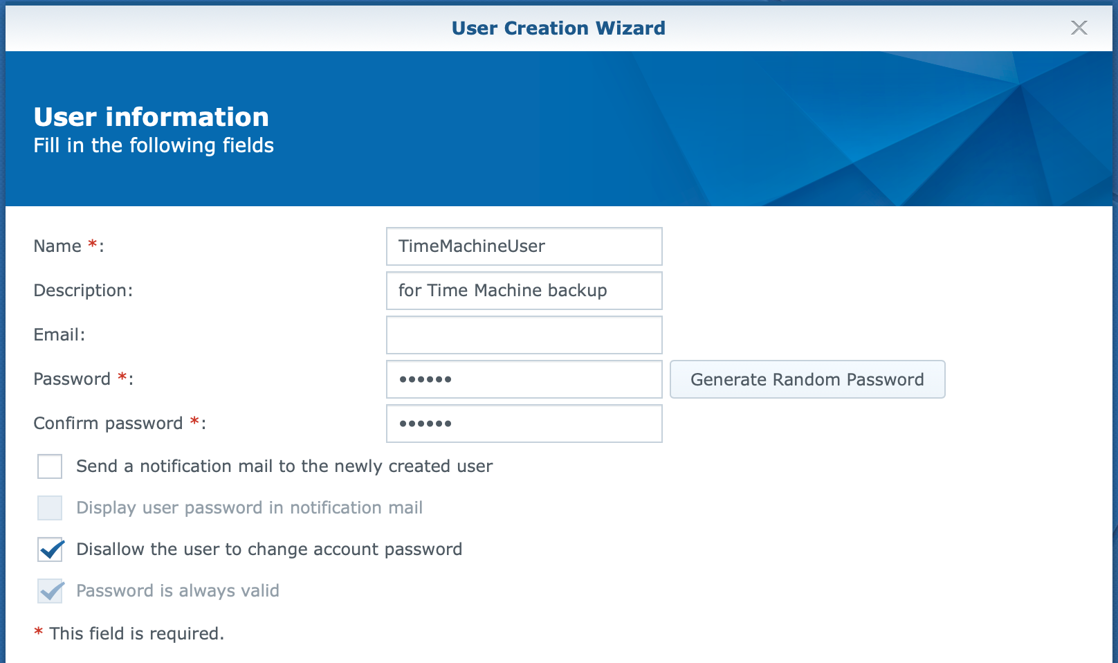 synology, user create wizard, user information, dsm6