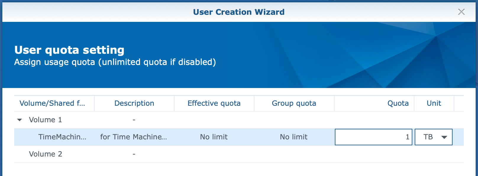 synology, user create wizard, user quota, dsm6