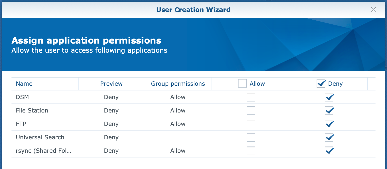 synology, user create wizard, assign application permissions, dsm6