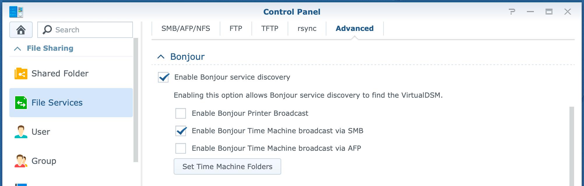 synology, control panel, file services, smb, bonjour, dsm6