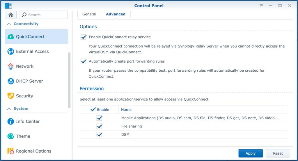 control panel, quickconnect, advanced, dsm6