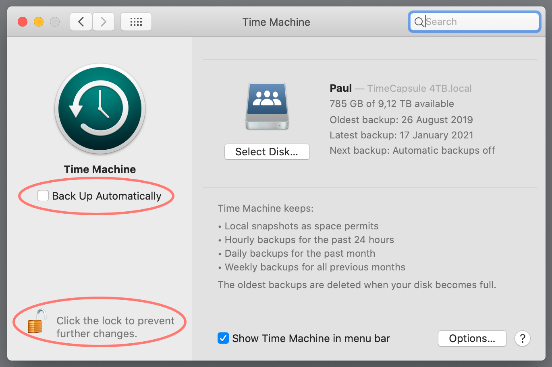 macos 10.15, catalina, system preferences, time machine