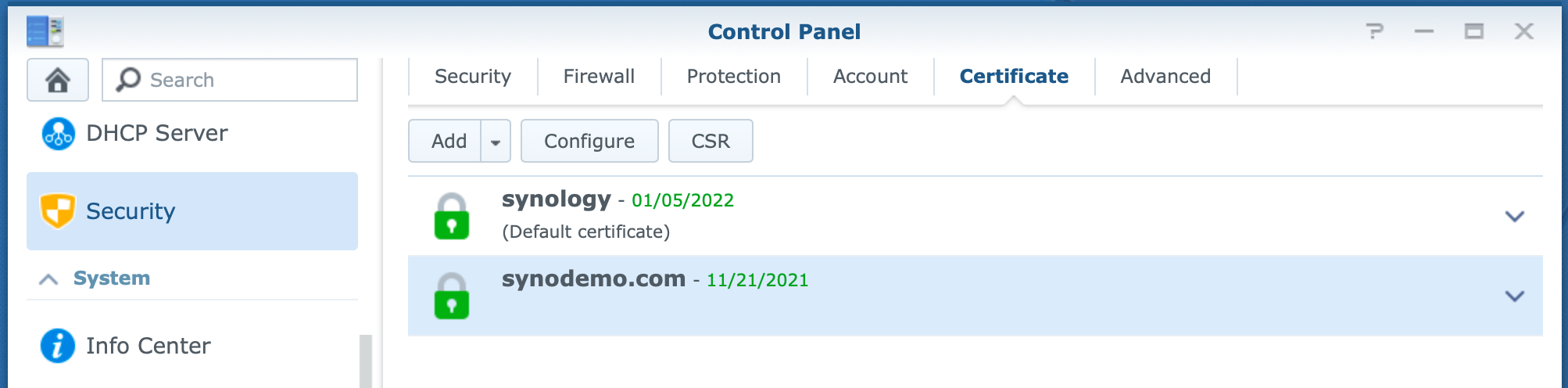 synology, control panel, add certificate, dsm6