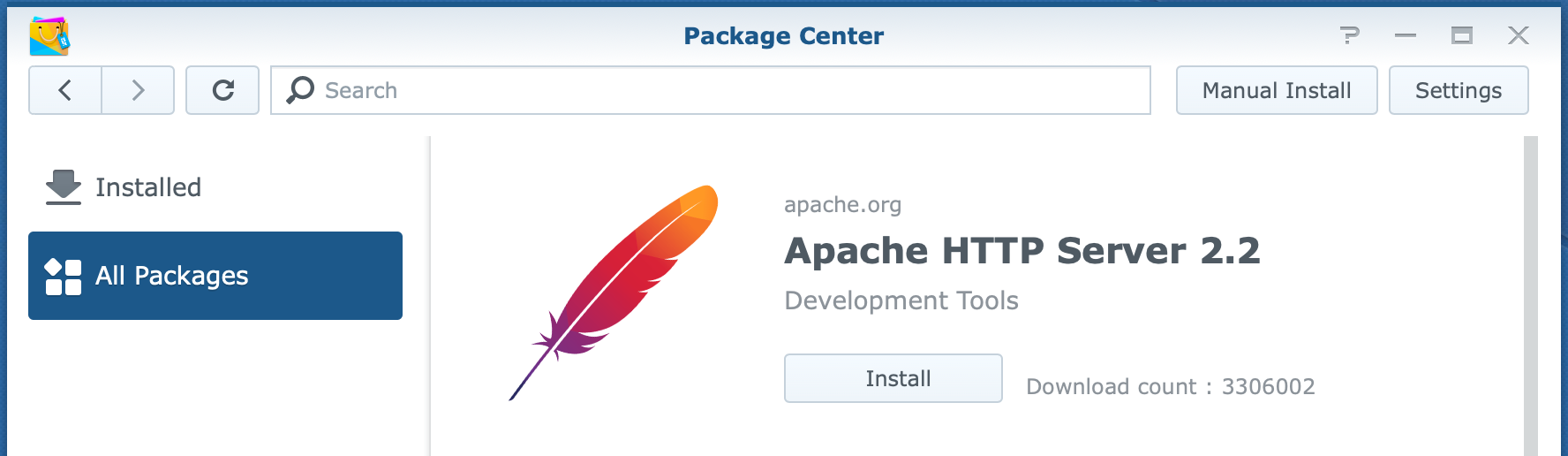 synology, package center, apache http server 2.2, dsm6