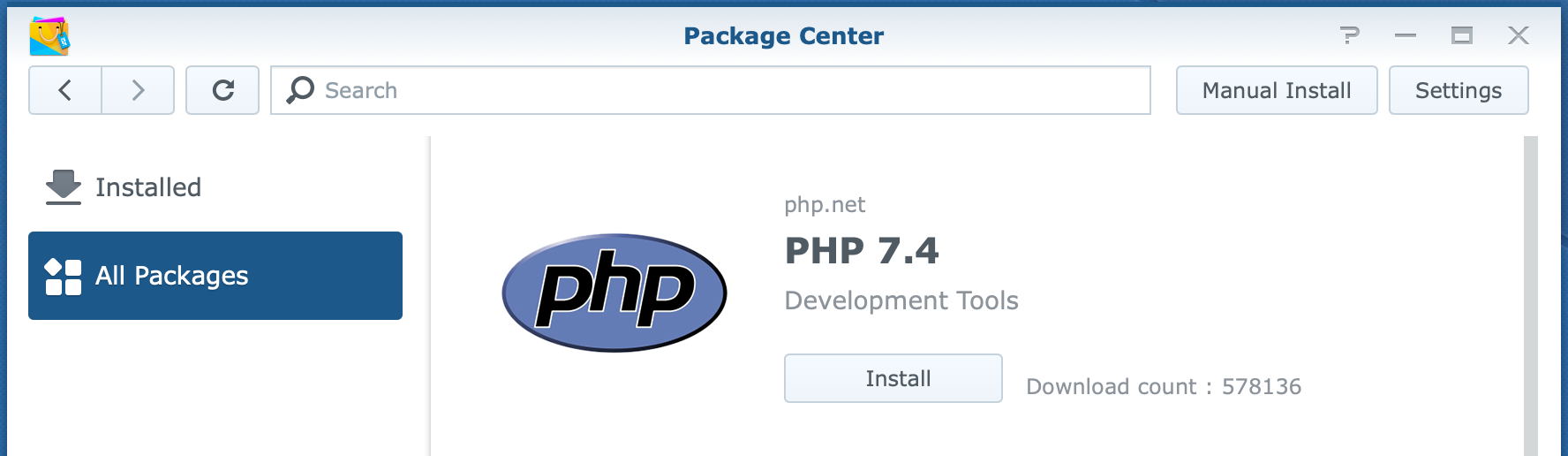 synology, package center, php 7.4, dsm6