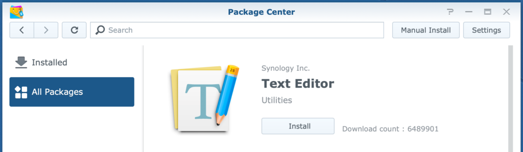 synology, package center, text editor, dsm6