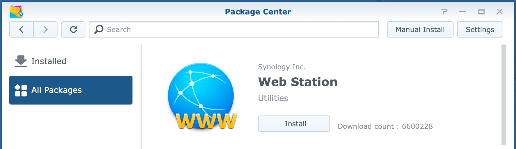 synology, package center, web station, dsm6