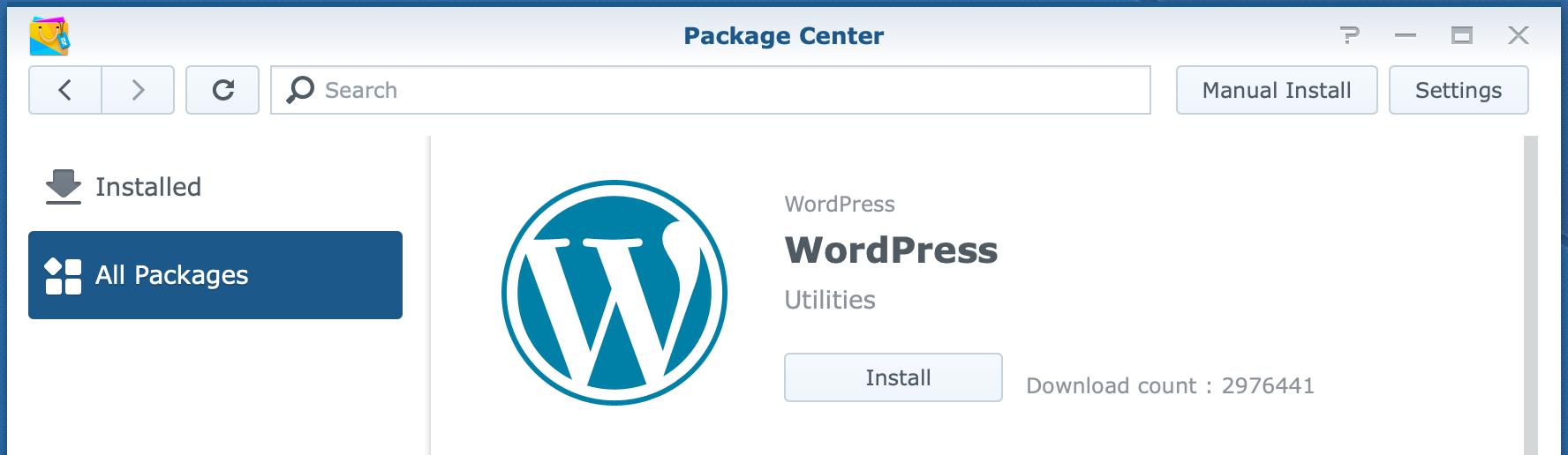 synology, package center, wordpress, dsm6