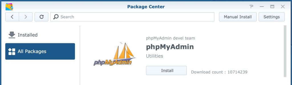 synology, package center, phpmyadmin, dsm6