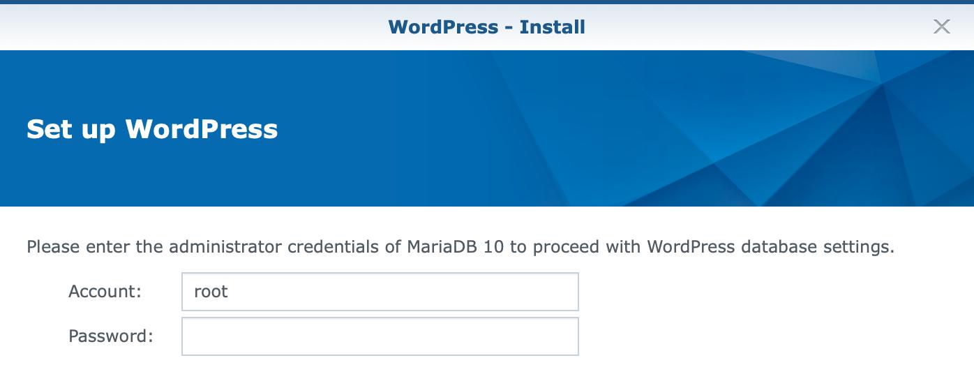 synology, wordpress, set up, password, dsm6