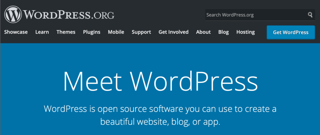 wordpress.org, home page