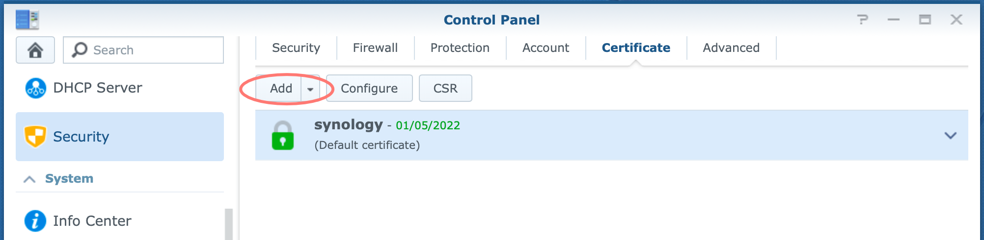 synology, control panel, certificate, add
