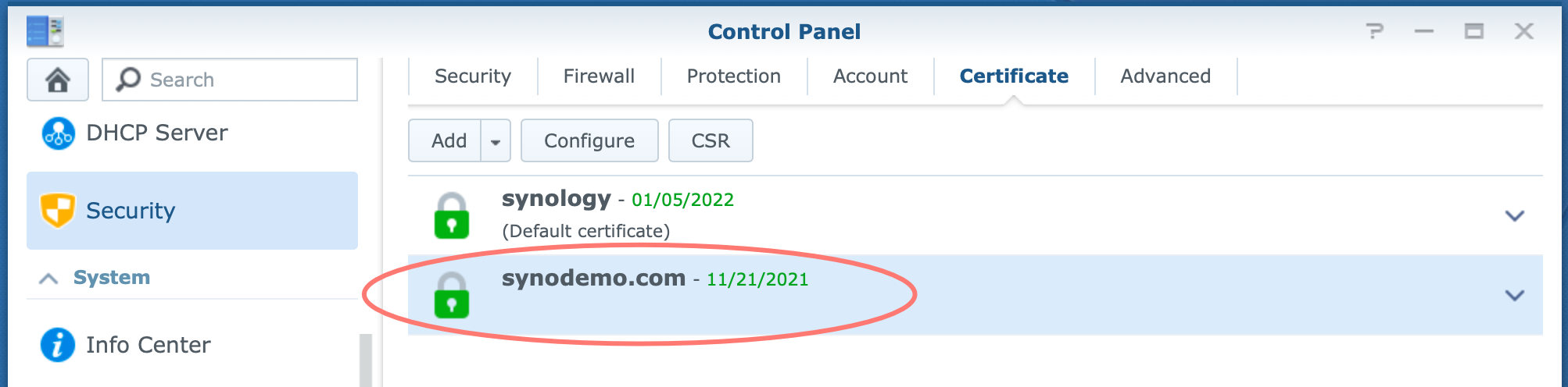 synology, control panel, certificate
