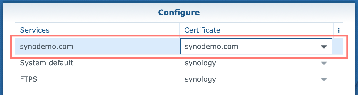 synology, control panel, certificate, configure