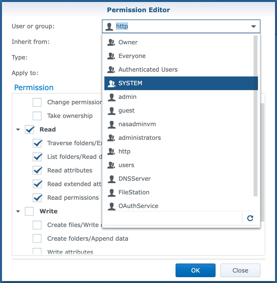 synology, file station, permission editor