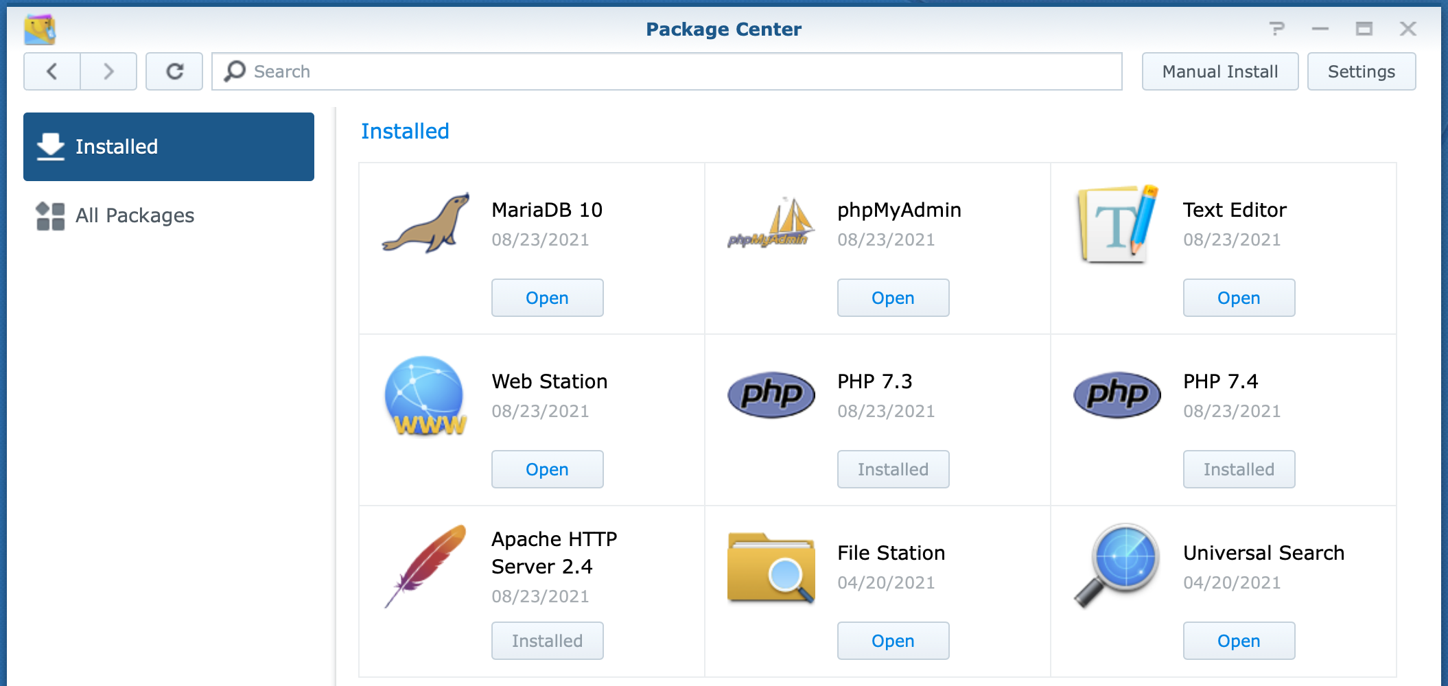 synology, package center, installed packages, dsm6, install wordpress on synology