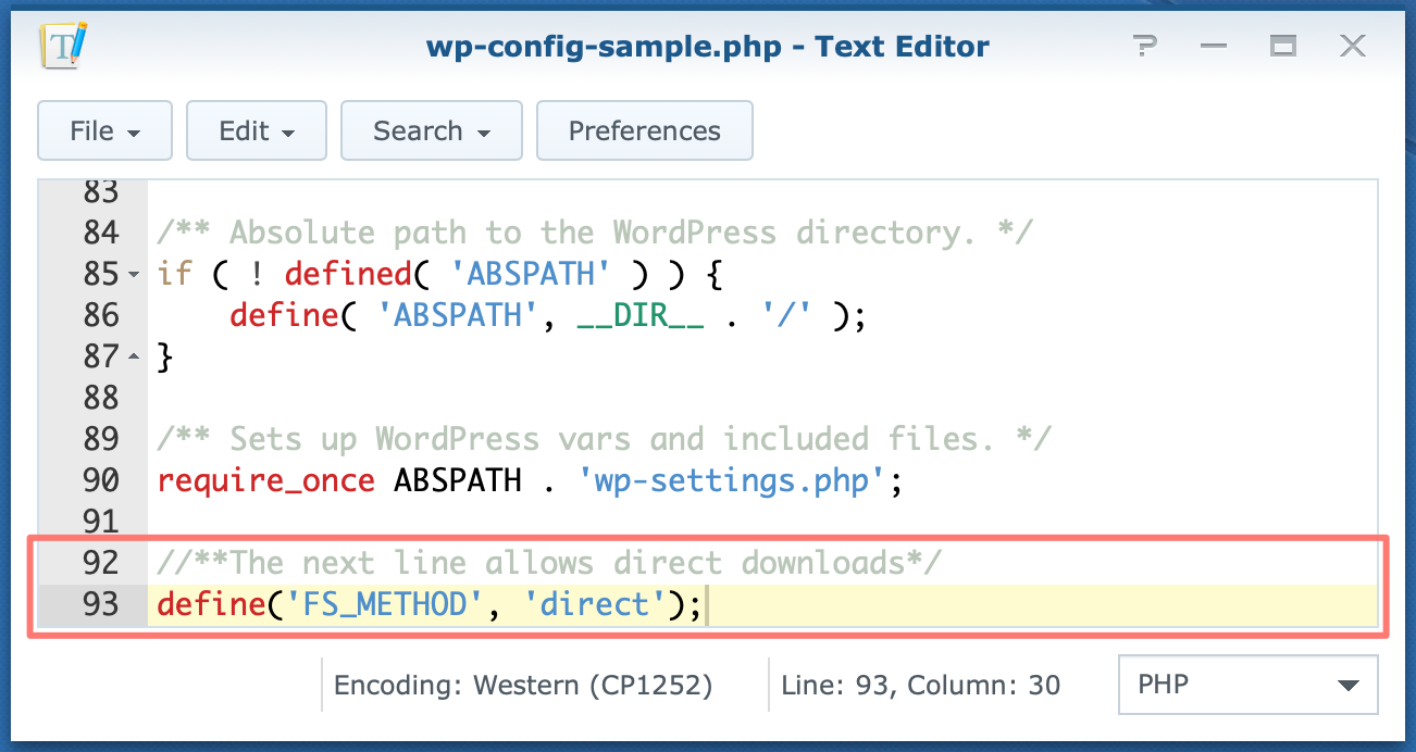 synology, text editor, wp-config-sample.php, dsm6