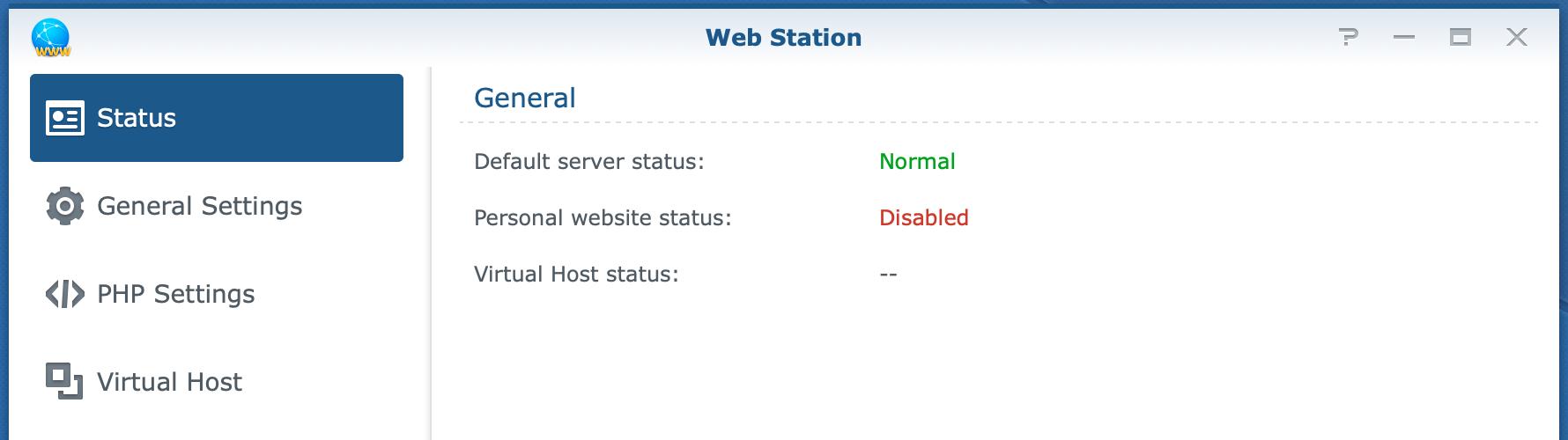 synology, web station, status, dsm6