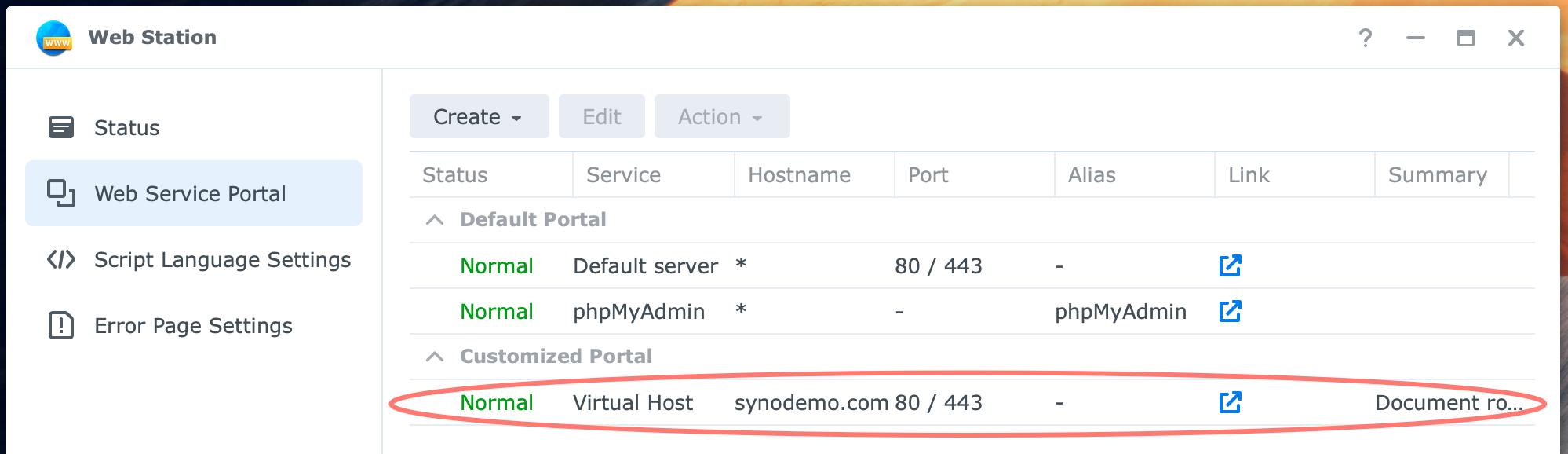 synology, web station, virtual host, dsm7