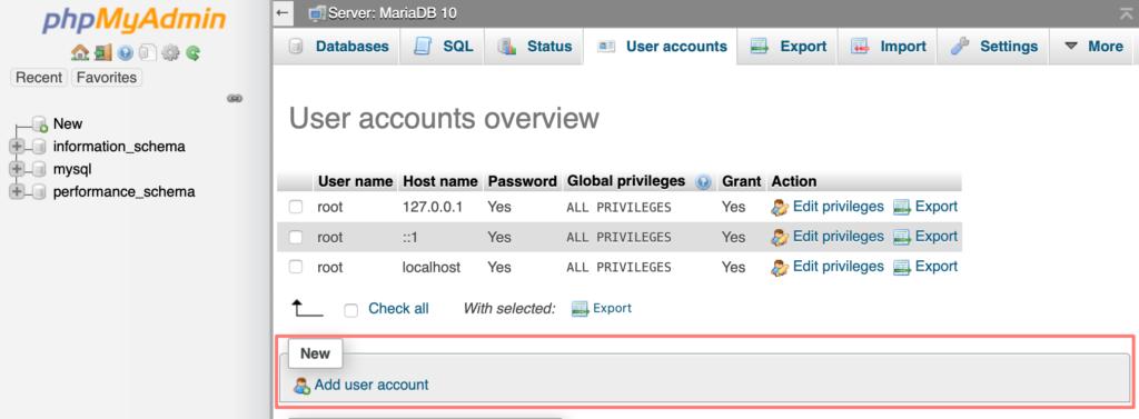 synology, phpmyadmin, add user